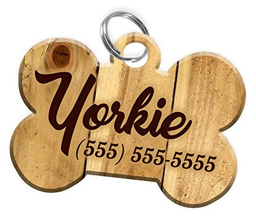 Wood Design Pet ID Dog Tag Personalized Custom Pet Tag for Dogs with Pets Name & Contact Number [Multiple Font Choices] [USA COMPANY] (Light Wood)
