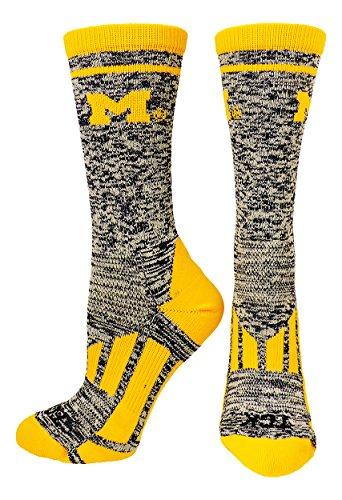 TCK Michigan Heathered Crew Socks (Navy/White/Gold, Medium)
