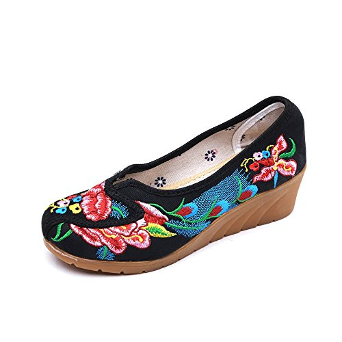 Lazutom Women's Chinese Style Vintage Soft Sole Slip-On Embroidery Loafer Shoes Black 5be2F