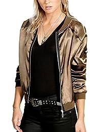 Nimpansa Womens Casual Long Sleeve Zip up Bomber Daily Jackets with Pocket