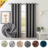 S DOLLCT Room Darkening Thermal Insulated Niose Reduction Blackout Curtain Linen Soft Velvet Lined Window Grommet Curtain Panel for Kids Room, Grey 52×84 Inch 1 Panel