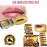 Cascove 20 Eye + Lip Gold Mask Patches Collagen Crystal Gel Pad Face Anti Aging Wrinkle Plush Lips Filler Pout Moisturizing Eye Patches Sheet Beauty Gold Hydrating Pads Ladies Xmas Gift Present