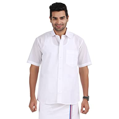 PRAKASAM COTTON MEN'S FORMAL MONO COTTON HALF SLEEVE WHITE SHIRT ...