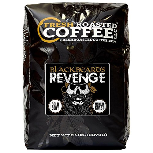 Blackbeard's Revenge Coffee, Artisan Blend, Whole Bean Bag, Fresh Roasted Coffee LLC. (5 -