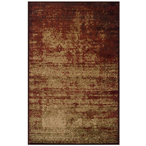 Superior Modern Afton Acid Wash Collection Area Rug, 10mm Pile Height with Jute Backing, Vintage Distressed Design, Anti-Static, Water-Repellent Rugs - Auburn, 4 x 6 Rug