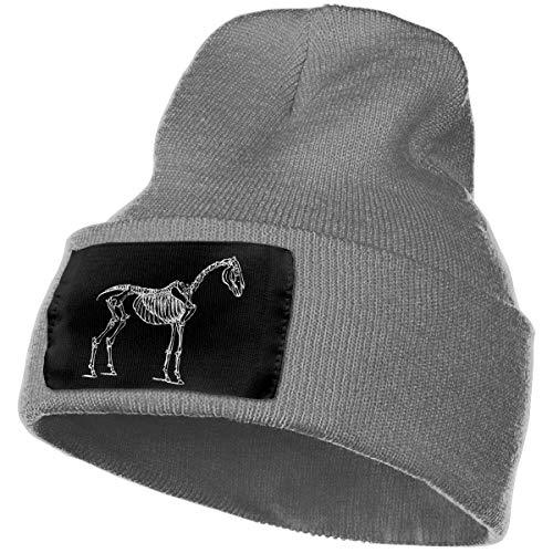 HERSTER Trotting Horse Skeleton Men Women Skull Caps Wool Baggy Slouchy Knitting Skull Hats Unisex ()