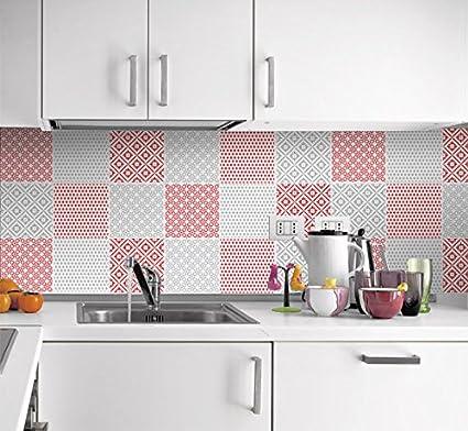 Moonwallstickers Sticker Muraux Carrelage pour Cuisine Motif Rouge et Gris  (Pack avec 24) (10 x 10 cm)
