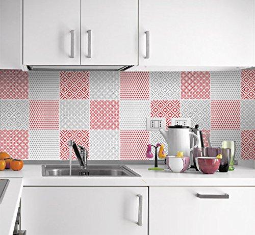 Amazon.de: Fliesenaufkleber Küche Wandfarben Rot und Grau ...