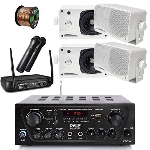Pyle Wireless Bluetooth Stereo Receiver Amplifier, Dual Channel VHF Wireless Microphone System, 4x Pyle 3.5'' 200 Watt 3-Way Weather Proof Box Speakers - White, 50Ft Speaker Wire - PA , Karaoke , DJ