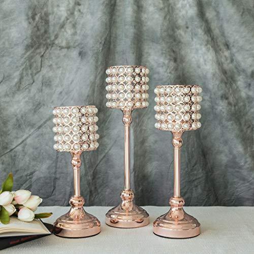 Efavormart Set of 3 Pearl Beaded Metallic Rose Gold Candle Votive Holder Wedding Chandelier Centerpieces