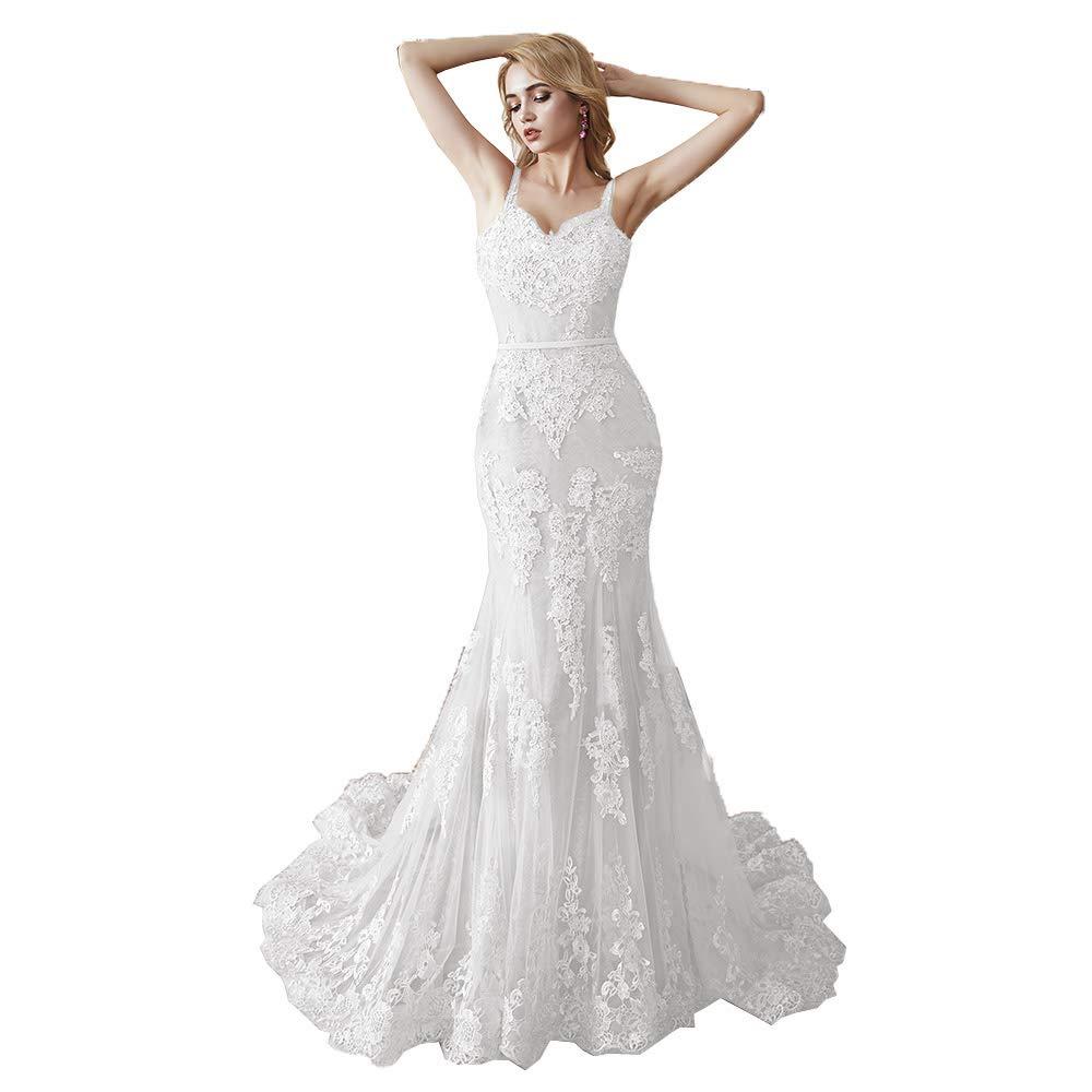 Beige MariRobe Women's Lace Applique Bridesmaid Dress Mermaid Quinceanera Dress Strap Long Evening Dress Engagement Gown