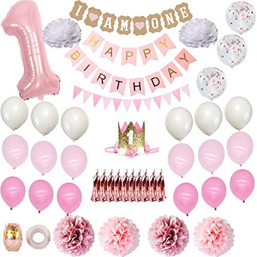 Baby 1st Birthday Decorations Set, Birthday Party Supplies Balloon Package for Boys Girls pink