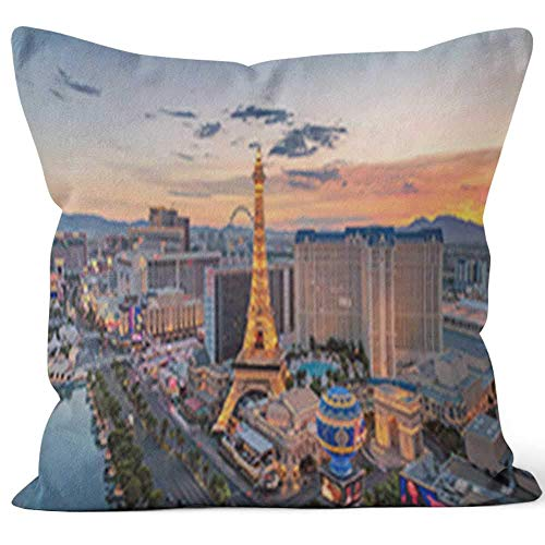 (Las Vegas Strip at Sunrise Home Decorative Throw Pillow Cover Square Pillow case 18x18)