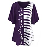WuyiM® Women T-Shirt Ladies Blouse Musical Notes Print Tops Casual Loose Short-Sleeved T-Shirt for Women Sale Clearance (Purple, 4XL)