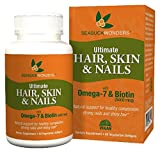 SeabuckWonders Organic Ultimate Hair, Skin & Nails with Omega-7 and Biotin, 60 Count Softgels