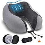 DYD Travel Pillow Memory Foam Neck Pillow for Airplane Breathable & Washable Velour Cover Ergonomic Neck Support Pillow with Sleep Mask & Earplugs