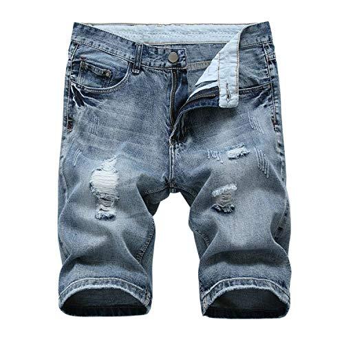 Pantalones Cortos De Verano para Estiramiento con Vaqueros Hombres Pantalones Ropa Agujeros Pantalones Cortos De Mezclilla Chern Longitud De Rodilla Straight Slim Fit Dril De Algodón Destruido Blau-3