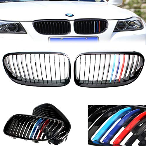 2dr Window - Pair Car Front Grill Cover Trim Grille Stickers For BWM 3-Series E92 E93 2Dr 2011 2012 2013