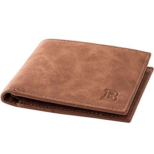 Schumarson Mens Leather Bifold Wallet Slim Credit Card Case Minimalist Front Pocket Wallet with Coin Pocket
