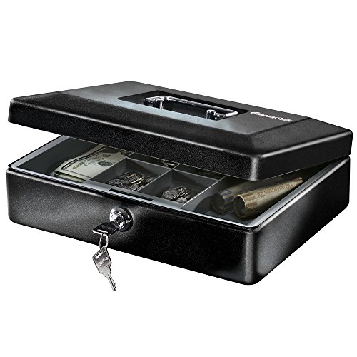 SentrySafe CB-12 Cash Box with Money Tray and Key Lock, 0.21 Cubic Feet, Black