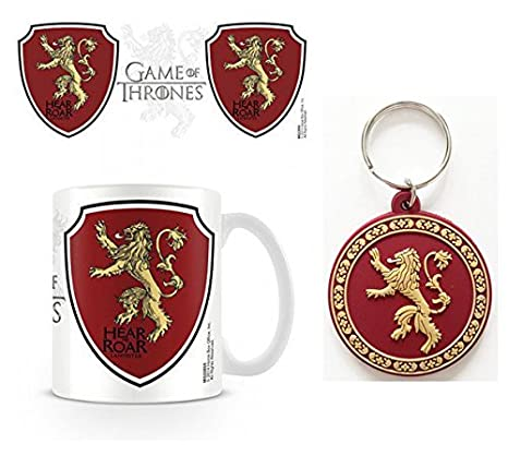 Set: Game of Thrones, House Lannister, Crest, Hear Me Roar Photo Coffee Mug (4x3 inches) and 1 Game of Thrones, Keychain Keyring for Fans (2x2 inches)