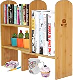 tabletop craft drawers - Expandable Natural Bamboo Desk Organizer Accessory - Adjustable Desktop Shelf Rack - Multipurpose Display for Office (Books) | Kitchen Storage (Spice Rack) | Flowers and Plants.
