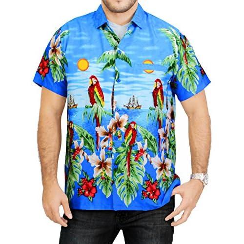 9b4de87eace3f LA LEELA Shirt camisa hawaiana Hombre XS - 5XL Manga corta Delante de  bolsillo Impresión hawaiana