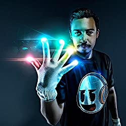 Emazing Lights Electro LED Gloves, 7 Light Flashing Modes - #1 Leader in Gloving & Light Shows (White Gloves)