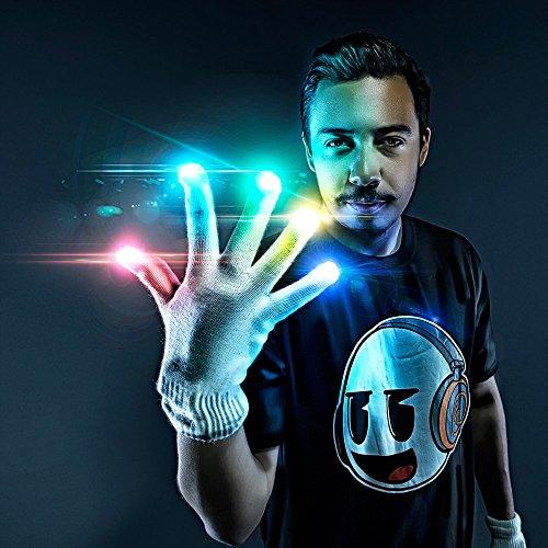 Emazing Lights Electro LED Gloves, 7 Light Flashing Modes - #1 Leader in Gloving & Light Shows (White Gloves) (Gloving Lights)