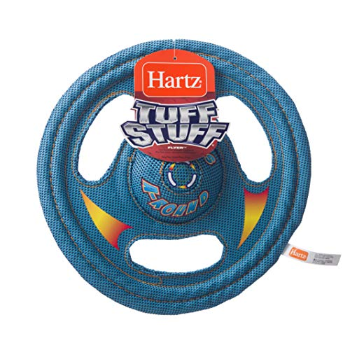 Hartz Tuff Stuff Toss Around Plush Frisbee Flyer Dog Toy - Medium/Large - Balls Nylon Dog