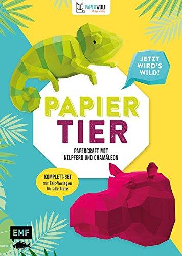 papiertier-jetzt-wird-s-wild-papercraft-mit-nilpferd-und-chamleon-komplett-set-mit-faltvorlagen-fr-beide-tiere