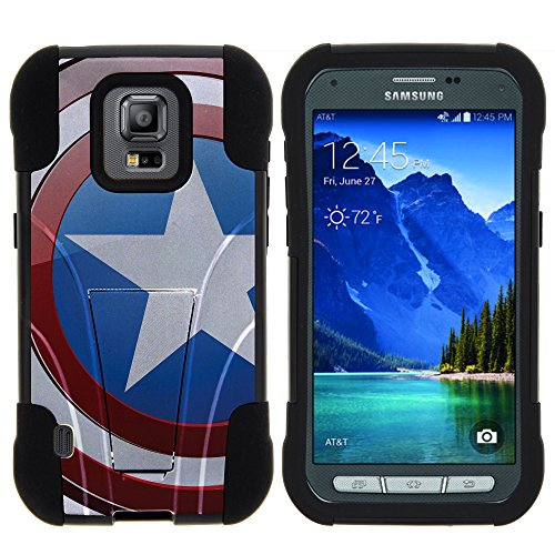 Samsung Galaxy S5 Active Stand Case, S5 Active Dual Shell, G870 Case [STRIKE IMPACT] Bumper Case Dual Fusion Action Silicone Hard Kickstand Shell by Miniturtle - American Shield Flag