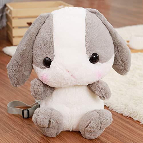 (Jewh Rabbit Plush Backpack Cute Japanese Plush Rabbit Backpack Stuffed Plush Rabbit Kids Toy Girls School Bag Gift for Little Girl (Grey))