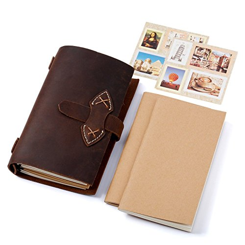 Refillable Genuine Leather Travelers Notebook - Lemome Unique Handmade Vintage Travel Journal Cover+ 2 Pieces Stickers + 5 Refills + Free Luxurious Gift Package, 7.2 x 4.3 In