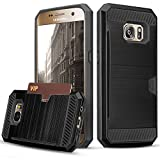 #2: Galaxy S7 Case, TILL(TM) Wallet Case [Card Pocket] Shockproof Dual Protective Shell Rubber Bumper with Card Holder Slot Kickstand Case Cover for Samsung Galaxy S7 S VII G930 GS7 All Carrier [Black]