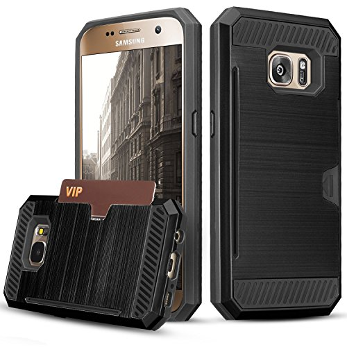Galaxy S7 Case, TILL(TM) Wallet Case [Card Pocket] Shockproof Dual Protective Shell Rubber Bumper with Card Holder Slot Kickstand Case Cover for Samsung Galaxy S7 S VII G930 GS7 All Carrier [Black]