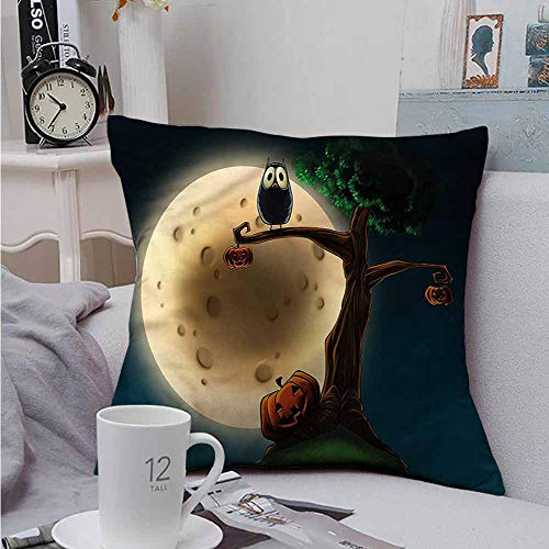 Fbdace Cushion Cases Throw Pillowcases Halloween Spooky Tree with an Owl Resists Stains, Wrinkles 18 X 18 Inch -