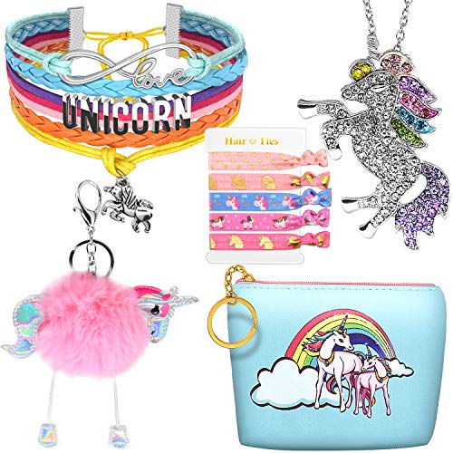 Hevout Unicorn Gifts for Girls Teen Girl Birthday Party Ideas Bracelet Necklace Jewelry Hair Ties Coin Purse Keychain Accessories Stuff Gift Set for Women]()