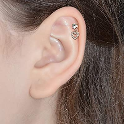 Surgical Steel Loaded Crystal Heart Cartilage Hoop Ring Seamless 16 gauge 16g