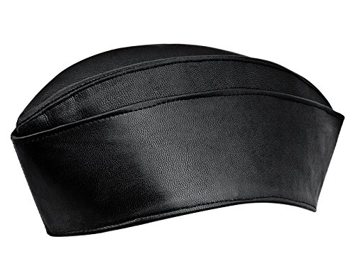 Sterkowski Genuine Leather Side Envelope Flight Service Garrison Cap US 6 3/4 Black