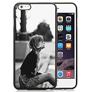 NEW Unique Custom Designed iPhone 6 Plus 5.5 Inch Phone Case With Lonely Blonde Girl Waiting Sidewalk_Black Phone Case
