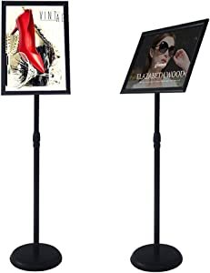 YDisplay Adjustable Sign Holder Stand With Base 11x17inches Aluminum Snap Open Frame Pedestal Sign Stand,Vertical and Horizontal View Sign Displayed, Round Base for Church Shool Office,Black