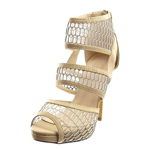 Sopily - Scarpe da Moda scarpe decollete sandali Stiletto Low boots alla caviglia donna Finitura cuciture impunture multi-briglia fishnet Tacco Stiletto tacco alto 12 CM - Beige