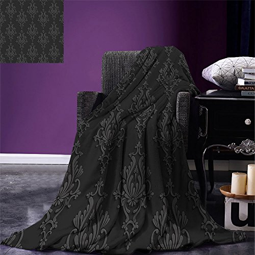 smallbeefly Dark Grey Digital Printing Blanket Antique Damask Pattern in 3D Style Classic Old Fashioned Floral Design Summer Quilt Comforter Charcoal Grey Dimgrey by smallbeefly