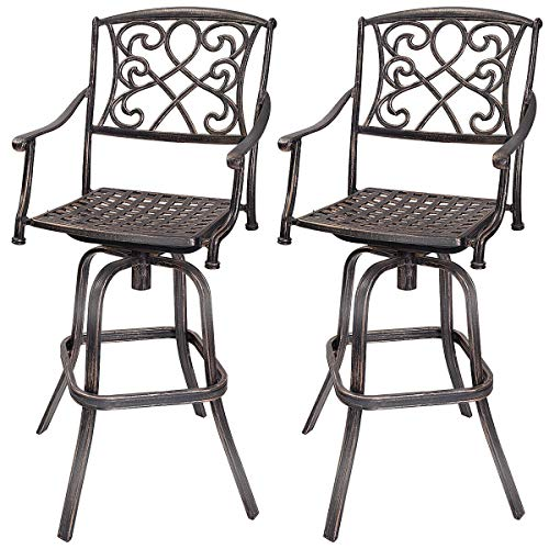 (COSTWAY Bar Stool Set of 2, Cast Aluminum Vintage Retro Design Patio Outdoor Garden Bistro Furniture Set (2Copper Bar Stool))