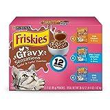 Purina Friskies Gravy Sensations Variety Packs Wet Cat Food, Surfin' & Turfin' Favorites, 36 Ounces, Pack of 12