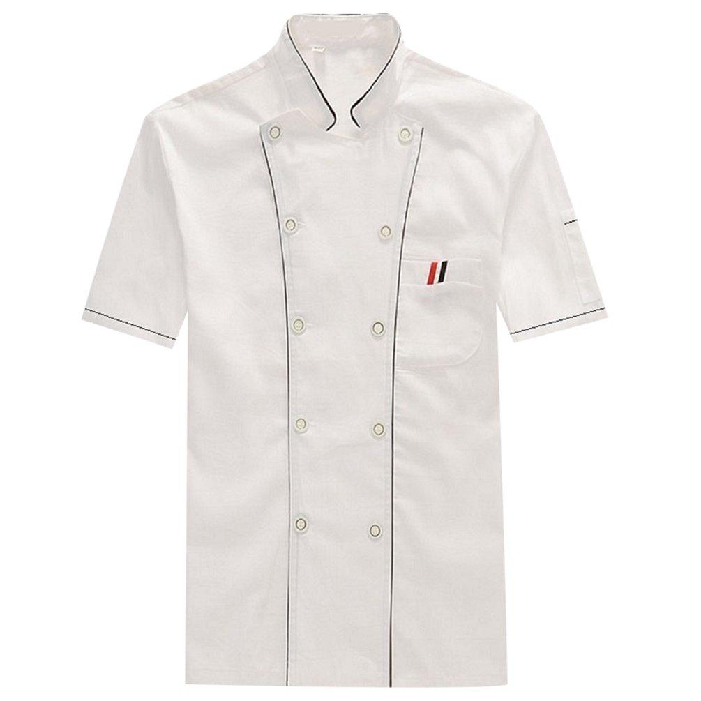 NiSengs Unisex Giacche da Chef Doppiopetto Giuntura Uniformi Cucina Mensa Hotel Divise da Cuoco