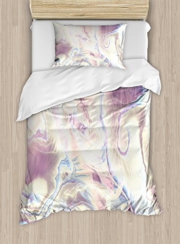 Ambesonne Marble Duvet Cover Set Twin Size, Vintage Antique Ottoman Art Forms with Faded Blurry Colors Picture, Decorative 2 Piece Bedding Set with 1 Pillow Sham, Cream Dried Rose Pale Blue