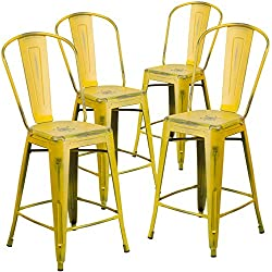 Flash Furniture 4 Pk. 24'' High Distressed Yellow Metal Indoor-Outdoor Counter Height Stool with Back