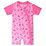 HUAANIUE Baby Girls ShortSleeve One Piece zipper Swimsuit 6Month-3Year UPF 50+ Sun Protection Swimming Costume 2-3Y Pink